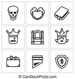 set, liefde, schat, icons., gehucht, stuk, koninkrijk, vector, sentinel., dood, troon, prinsesje, tragedie
