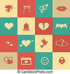 set, liefde, valentine, iconen, symbolen, retro, internet, dag