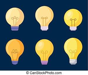 set light bulbs icons