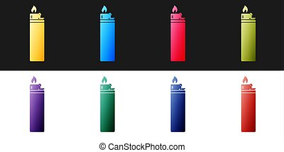 Set Lighter icon isolated on black and white background. Vector