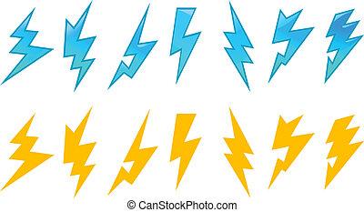 set, lightning, iconen