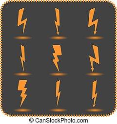 Set lightning, vector illustration.