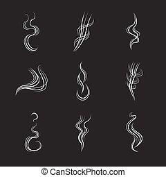 set, lijnen, achtergrond., vector, zwarte rook, witte