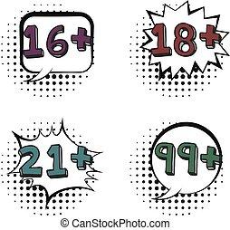 set, limiti, età, discorso, retro, comico, bolle
