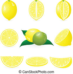 set, limone, icona