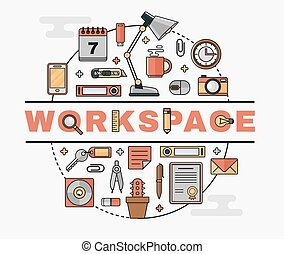 Set line art flat icons of the personal workplace