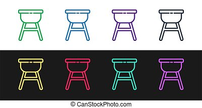 Set line Barbecue grill icon isolated on black and white background. BBQ grill party. Vector Illustration