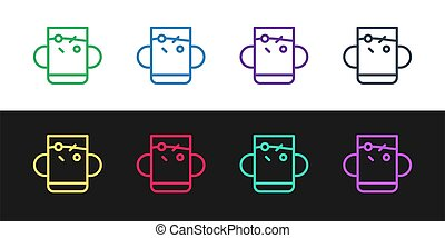 Set line Cup of tea and leaf icon isolated on black and white background.  Vector