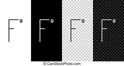 Set line Fahrenheit icon isolated on black and white background. Vector Illustration