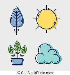 set line flat icons design