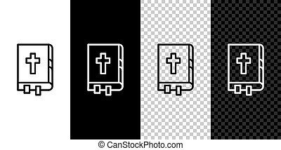 Set line Holy bible book icon isolated on black and white background.  Vector Illustration