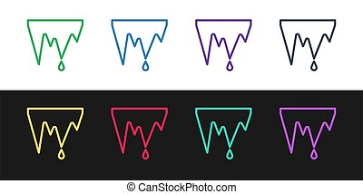 Set line Icicle icon isolated on black and white background...