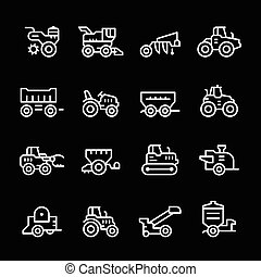 Set line icons of agricultural machinery isolated on black....
