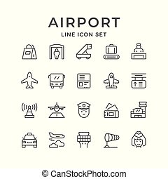 Set line icons of airport