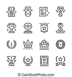 Set line icons of award isolated on white. Vector...