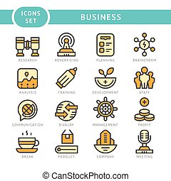 Set line icons of business