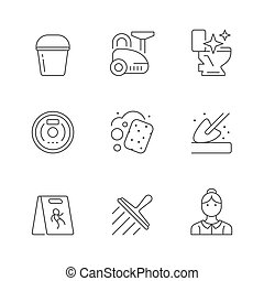 Set line icons of cleaning isolated on white. Vacuum cleaner...