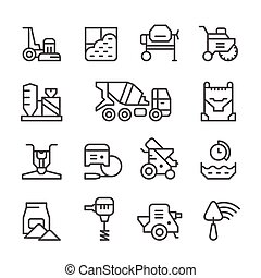 Set line icons of concrete