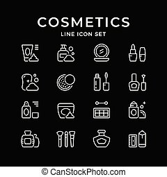 Set line icons of cosmetics