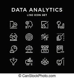 Set line icons of data analytics
