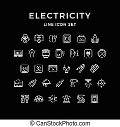 Set line icons of electricity isolated on black. Vector...