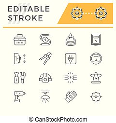 Set line icons of electricity isolated on white. Editable...