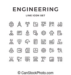 Set line icons of engineering isolated on white. Vector...