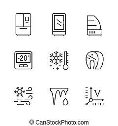 Set line icons of fridge, refrigerator, icebox isolated on white. Commercial showcase, control display, meat freezing, defrosting, temperature. Vector illustration