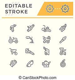 Set line icons of garden equipment isolated on white. Editable stroke. Vector illustration