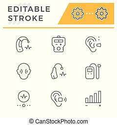 Set line icons of hearing aid isolated on white. Editable...