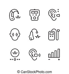 Set line icons of hearing aid isolated on white. Vector...
