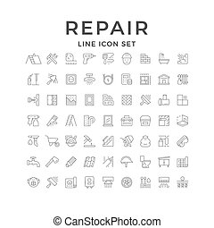 Set line icons of house repair