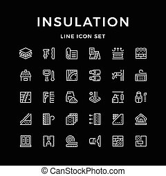 Set line icons of insulation isolated on black. Vector...