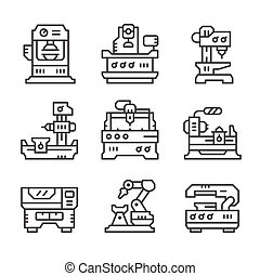 Set line icons of machine tool isolated on white. Vector...