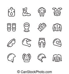 Set line icons of motorcycle equipment