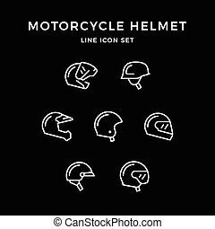 Set line icons of motorcycle helmet