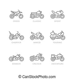 Set line icons of motorcycle isolated on white. Different types of motorbike, sport, cross, classic, chopper, bobber,, touring, cruiser, adventure. Vector illustration