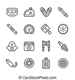 Set line icons of motorcycle parts