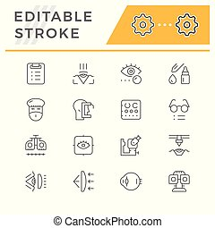 Set line icons of ophthalmology isolated on white. Editable ...