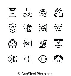 Set line icons of ophthalmology isolated on white. Vector ...