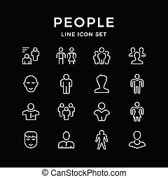Set line icons of people