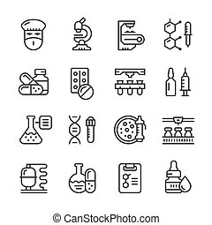 Set line icons of pharmaceutical industry isolated on white. Vector illustration