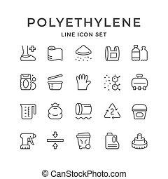 Set line icons of polyethylene or polythene