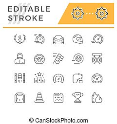 Set line icons of racing isolated on white. Editable stroke. Vector illustration