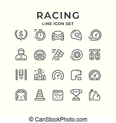 Set line icons of racing isolated on white. Vector...