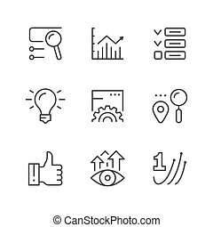 Set line icons of SEO isolated on white. Search engine ...