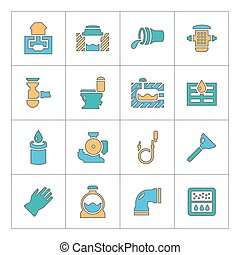 Set line icons of sewerage
