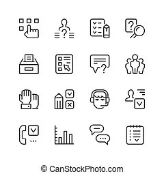 Set line icons of survey isolated on white. Vector...