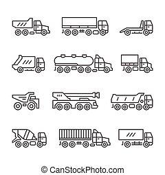 Set line icons of trucks