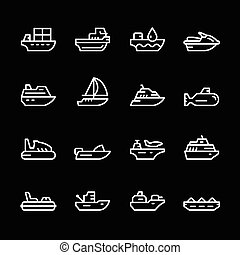Set line icons of water transport